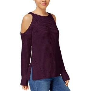 Womens Juniors Pullover Sweater Cold Shoulder Ribb